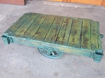Green Color Wash Lineberry Cart Table